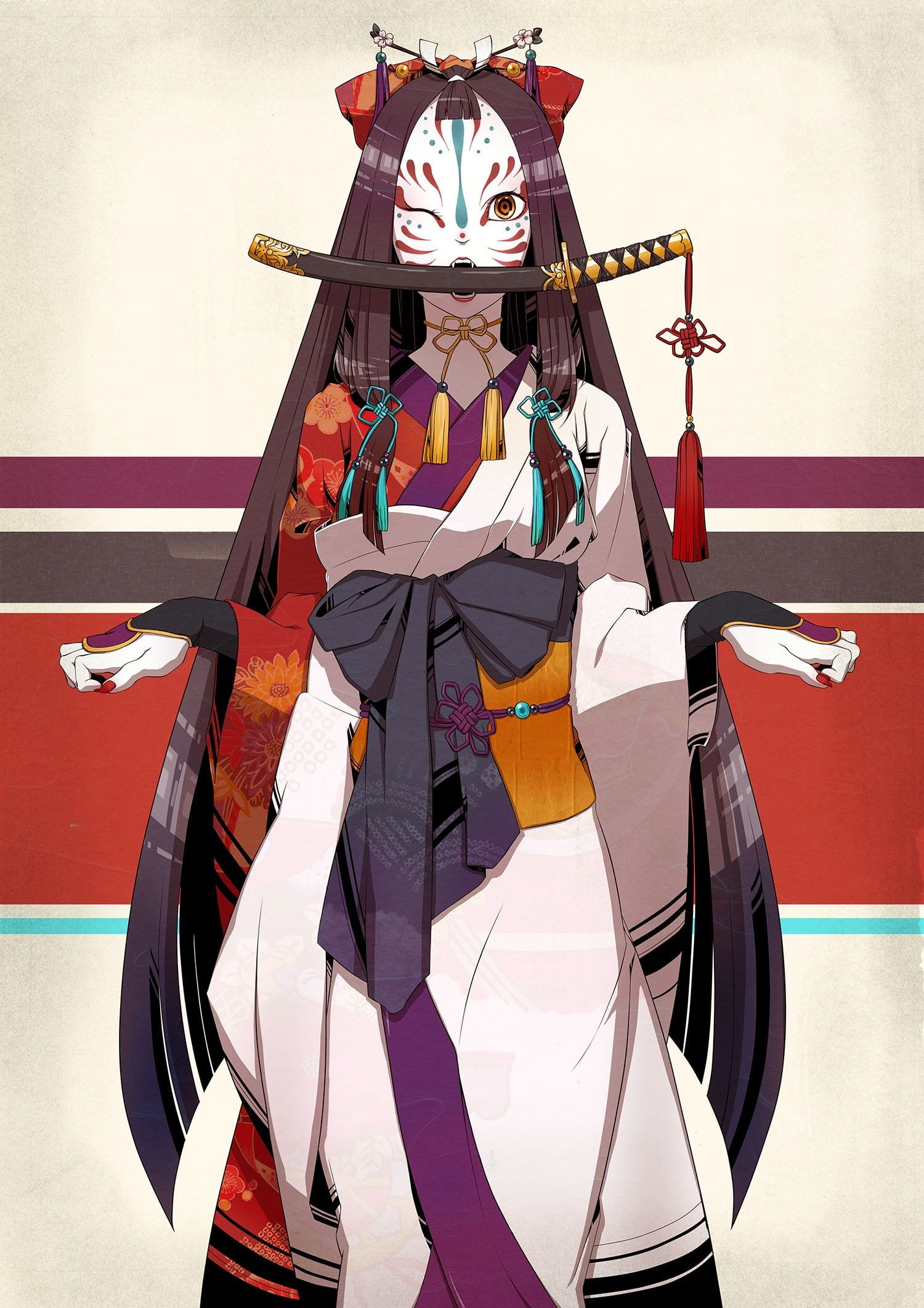 Wakizashi fox mask long hair 1080P wallpaper