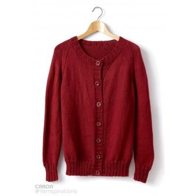 5dfdfb1c9 Caron Simply Soft Adult Knit Crew Neck Cardigan