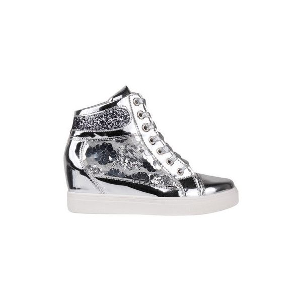 275bbcc1be88 Krisp Glitter Sequins Metallic Wedge Trainers Shoes (High-top... ($16