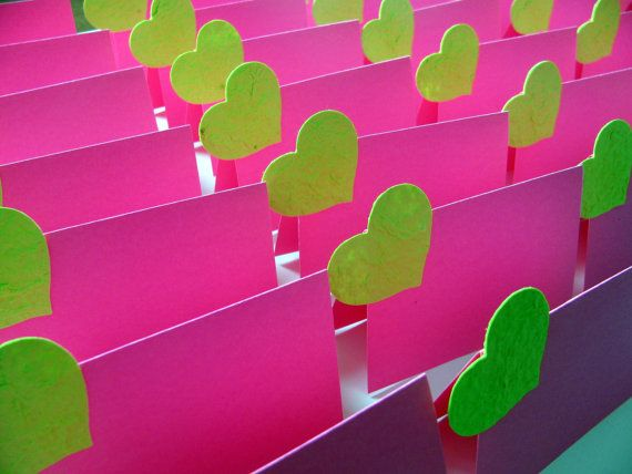 Custom Wedding Place Cards for EMILY - Fuschia Cardstock Place Cards ...