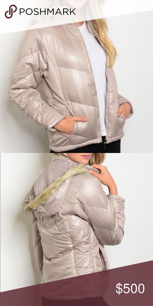316c651cd5c Sand Color Hooded Puffer Jacket Sand Color Hooded Puffer Jacket. Nice and  warm. Long sleeves. Front zip. Pockets. Detachable fur trimmed hood.
