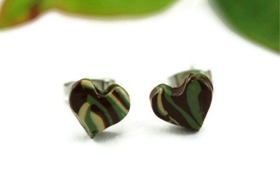Camouflage Stud Earrings Tiny Heart Post By Rubipotamus 6 50