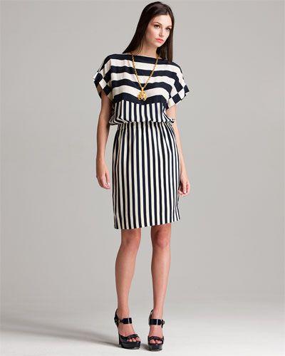 Chanel Navy & White Striped Silk Dress (Fr 38/US 6)