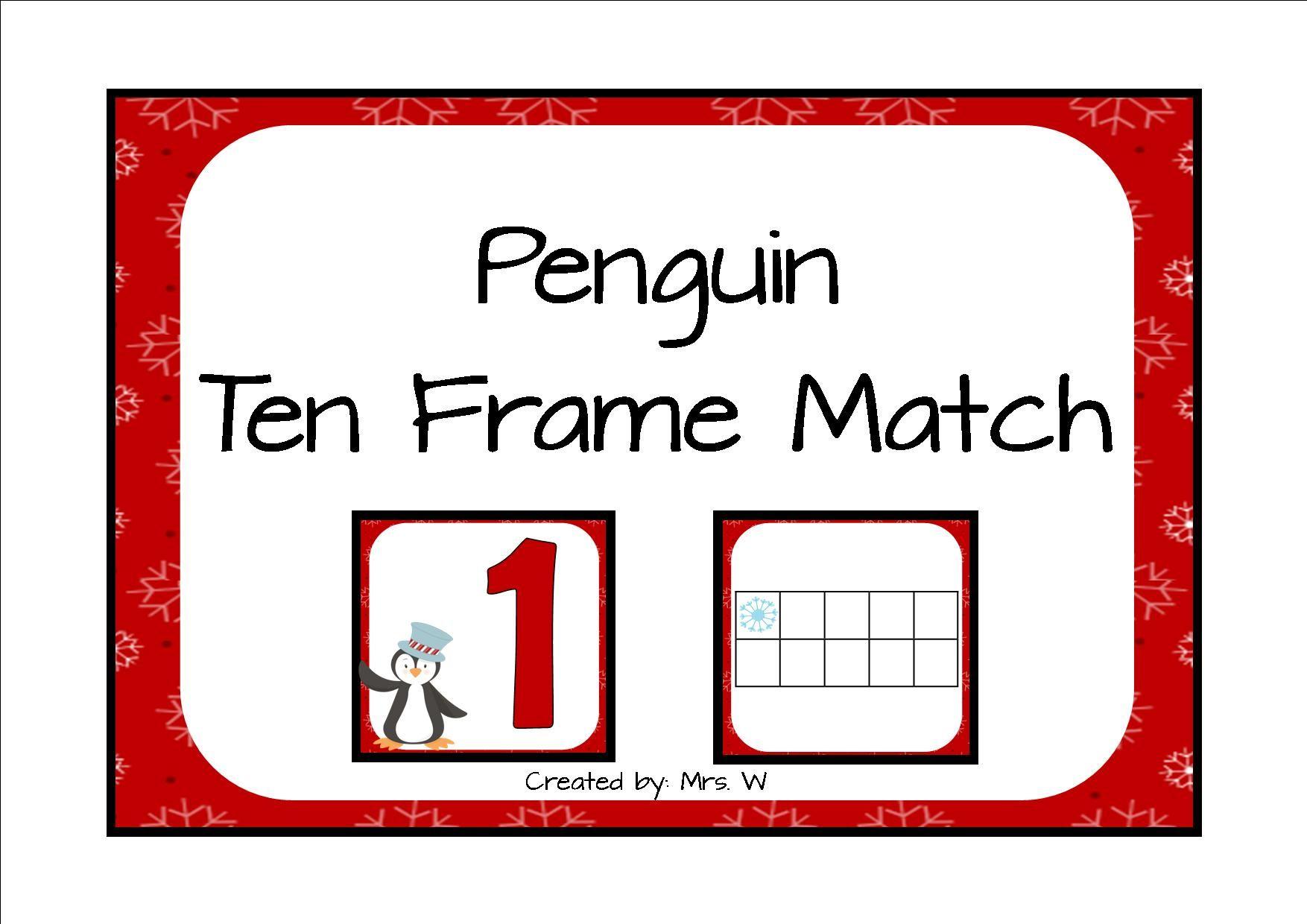 Penguin Ten Frame Match 1 20