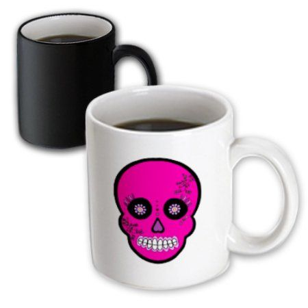 3dRose Day of the Dead Skull D?a de los Muertos Sugar Skull Pink, Magic Transforming Mug, 11oz