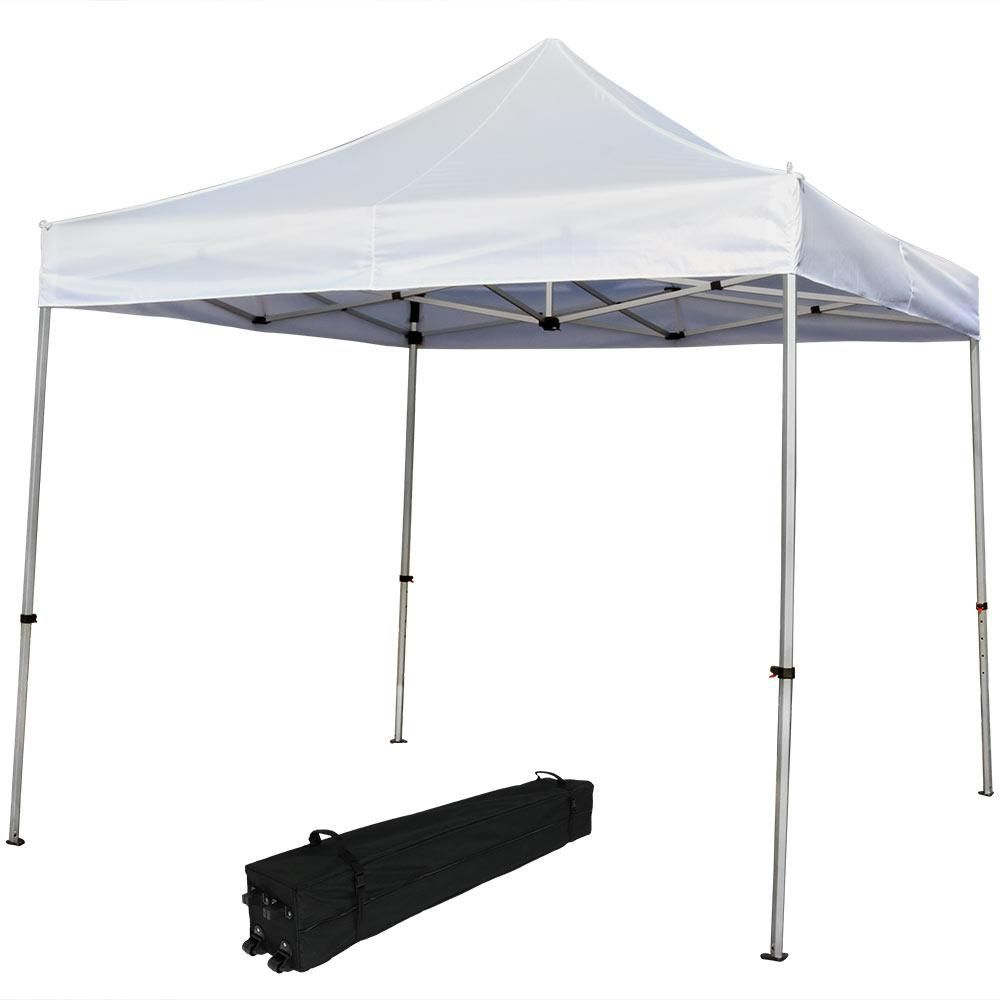 Sunnydaze Decor 10 Ft X 10 Ft White Heavy Duty Aluminum Straight Leg Quick Up Canopy With Rolling Bag Instant Canopy Canopy 10x10 Canopy Tent