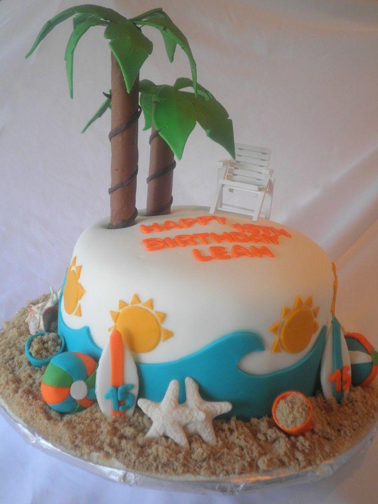 Beach Themed Birthday Cake Cake Ideas Pinterest ...
