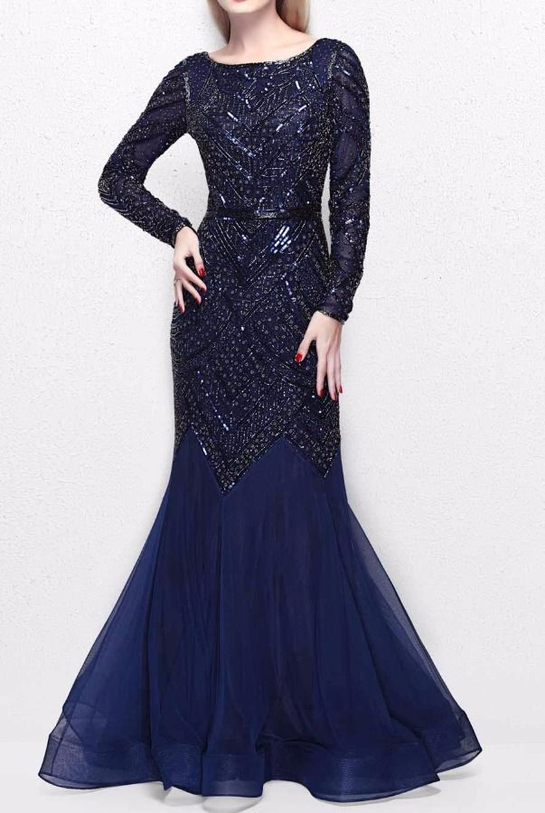 5631db00c3 Primavera Couture 1725 Navy Blue Beaded Long Sleeve Gown Dress | Poshare  Make it your moment to stand out in this Primavera Couture 1725 evening gown .