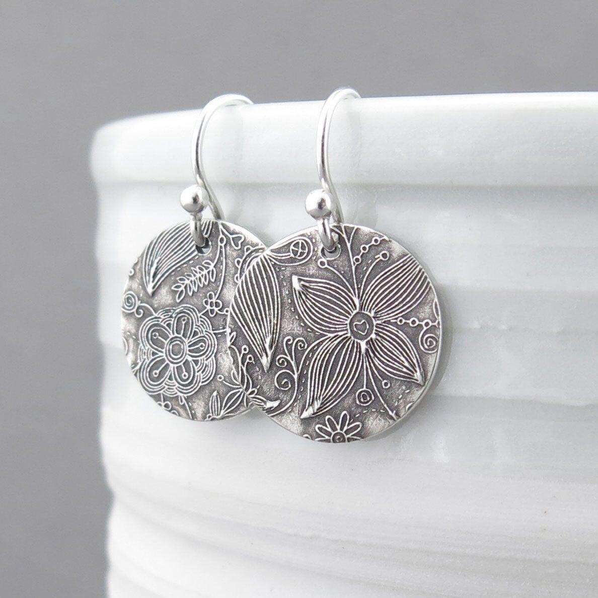 aae3a0939 Small Silver Earrings Sterling Silver Jewelry Silver Dangle Earrings Summer  Outdoors Bohemian Jewelry Rustic Jewelry -