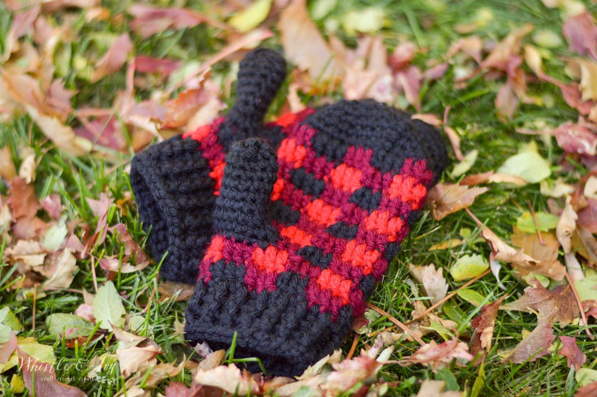 Crochet Plaid Mittens - Free Crochet Pattern | Pinterest