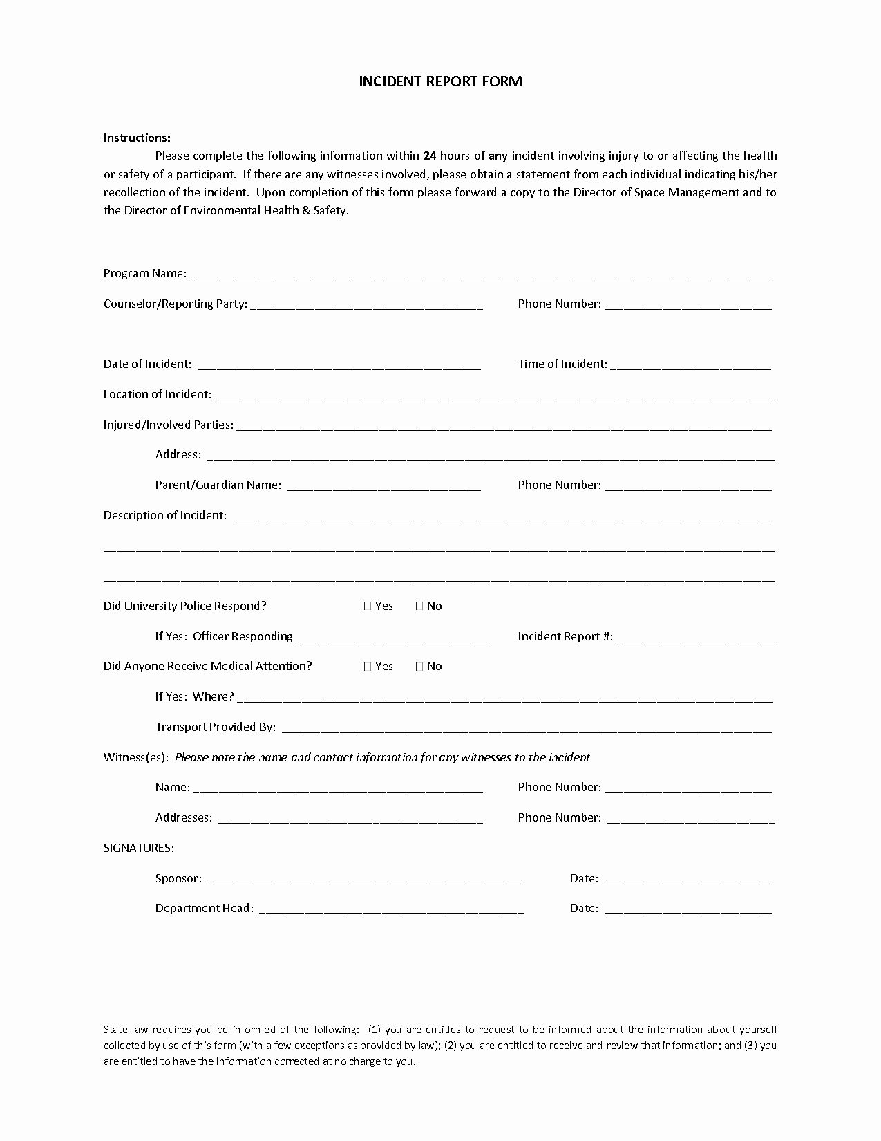 Blank Incident Report Form In