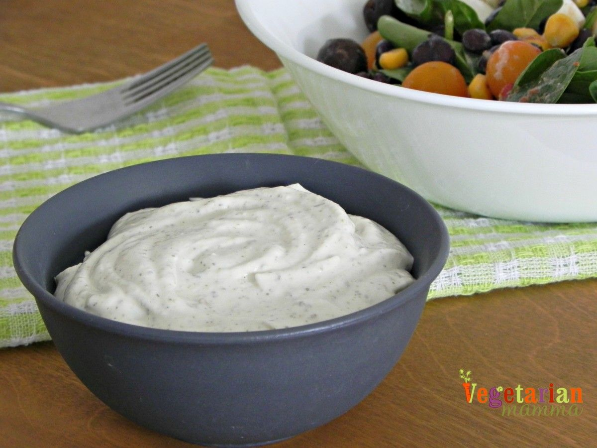 Looking for a dairy free alternative to ranch dressing/dip? Check out this tasty recipe and get those veggies ready for dipping! Vegan Ranch