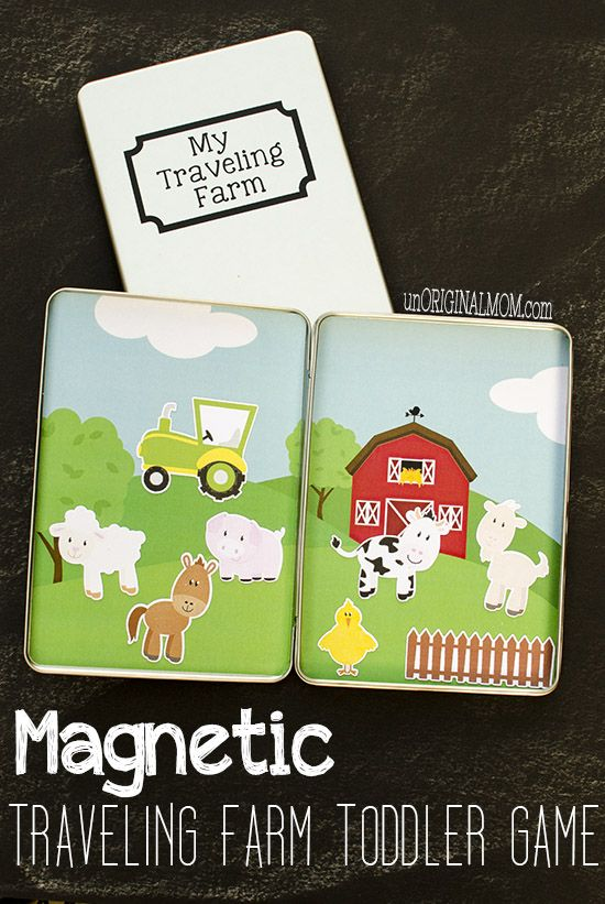 Make your own magnetic traveling farm toddler game using DVD tins - use your Silhouette to make your own, or just buy store bought magnets to fill them!