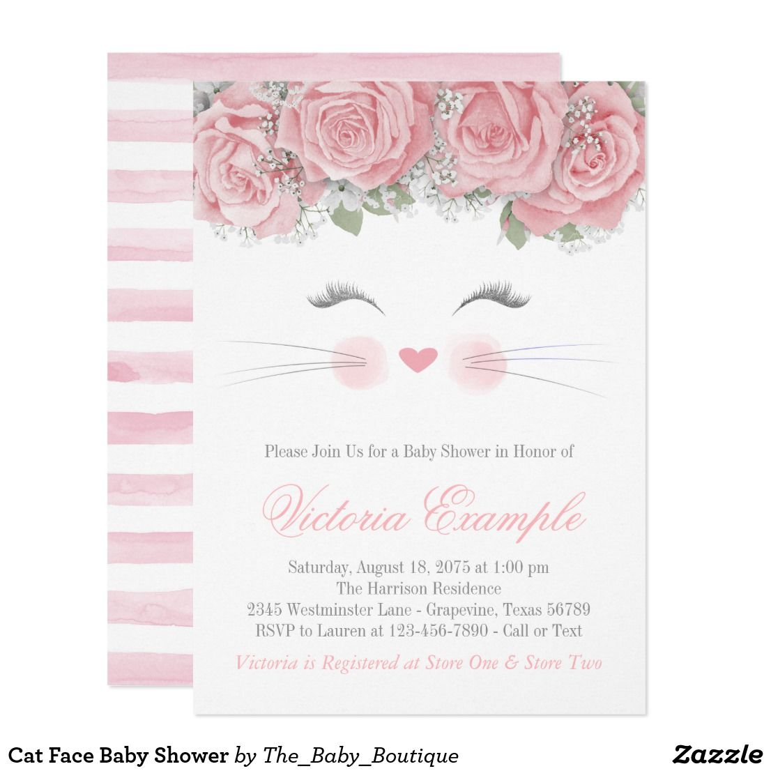 Cat Face Baby Shower Invitation Zazzle Com Cat Baby Shower Cat Baby Shower Invitations Shower Invitations