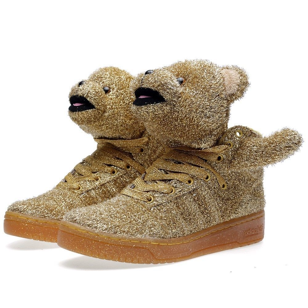 Men's - Adidas Jeremy Scott Holiday Bear Gold Shoes