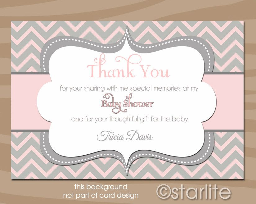 Chevron  Pink Gray Grey  Baby Shower Thank You Card  Baby Girl