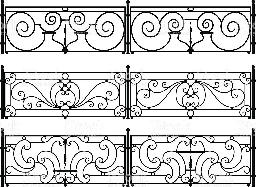 Six Variations On Sections Of Decorative Wrought Iron Fences Or