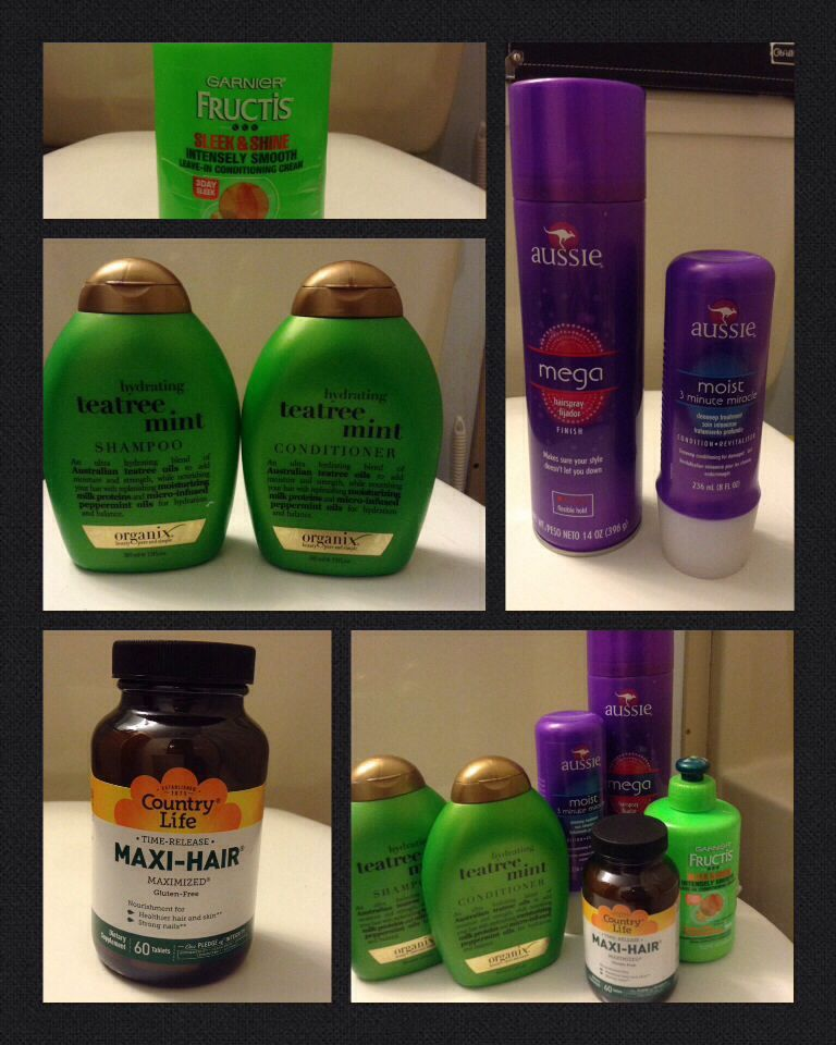 My hair care products. I'm trying to grow out my hair. It