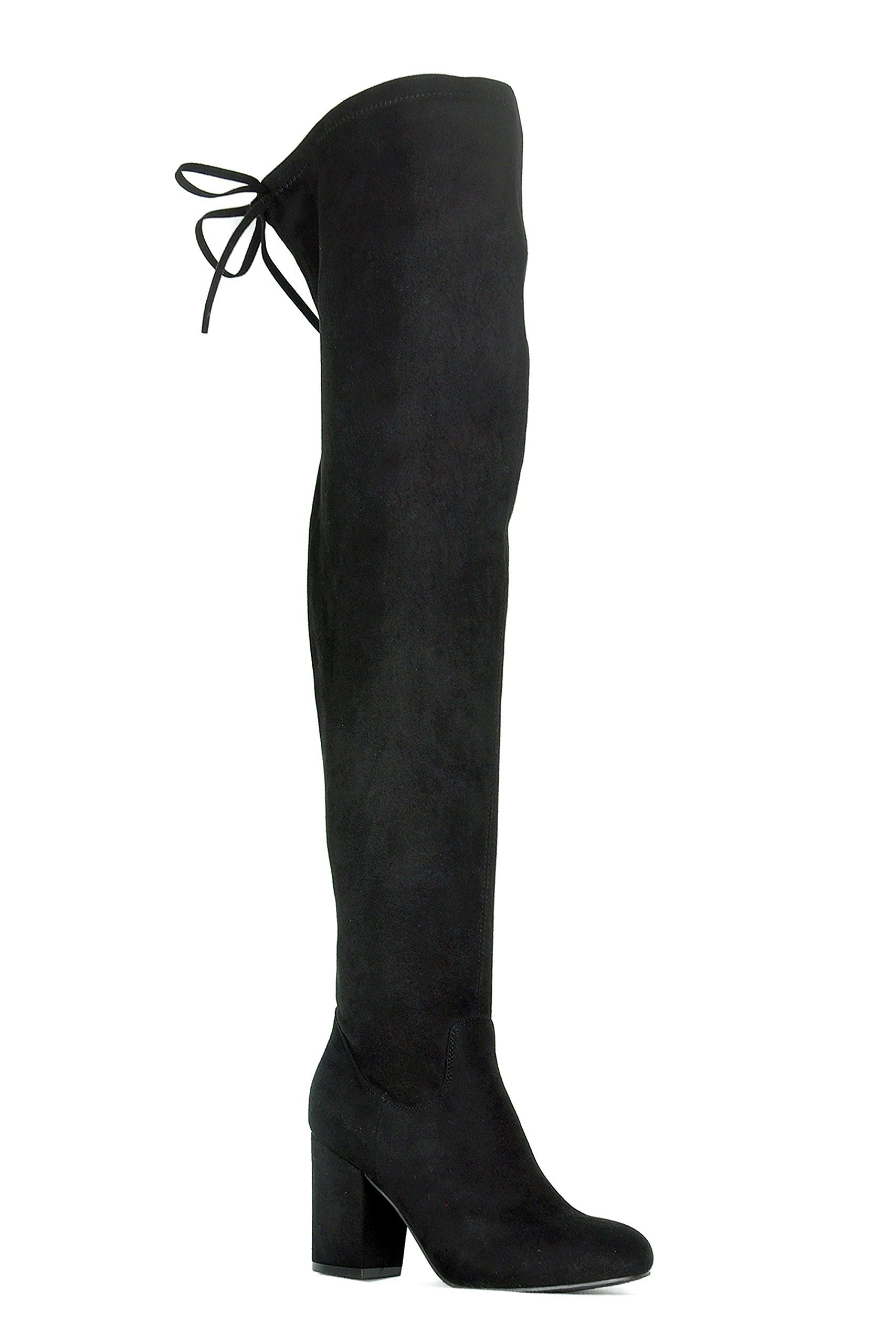 e3c325b7b813 ShoBeautiful Womens Over The Knee Boots Stretchy Drawstring Back Tie Thigh  High Chunky Block Heel Boots Black 10     Read more reviews of the product  by ...