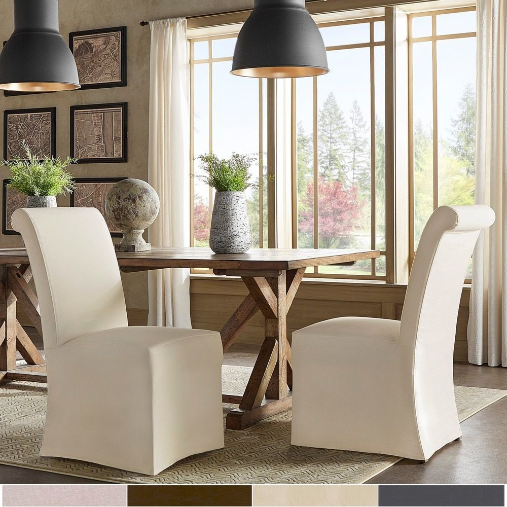 Potomac Slipcovered Rolled Back Parsons Chairs (Set of 2 ...
