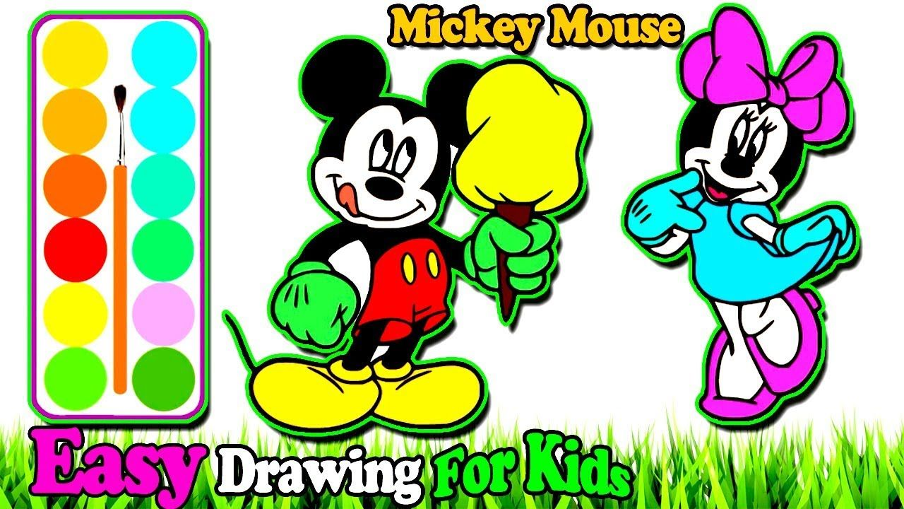 How To Draw Mickey Mouse Coloring Learn Colors Video Painting For To Abc Coloring Pages Learning Colors Christmas Coloring Books
