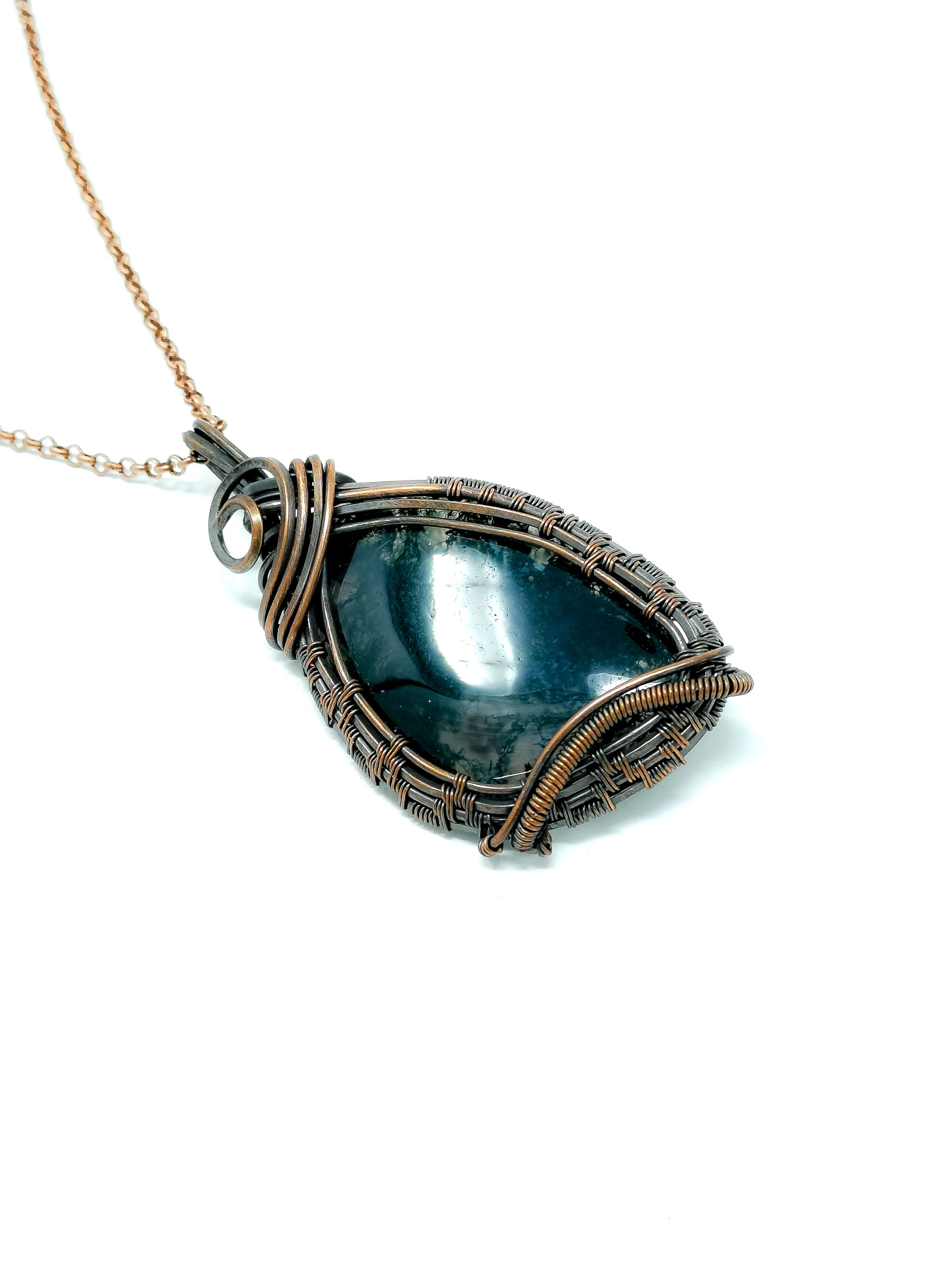 Moss Agate Pendant Fantasy Jewelry Large Necklace Gift With Meaning Agate Pendant Large Necklace Gift Necklace