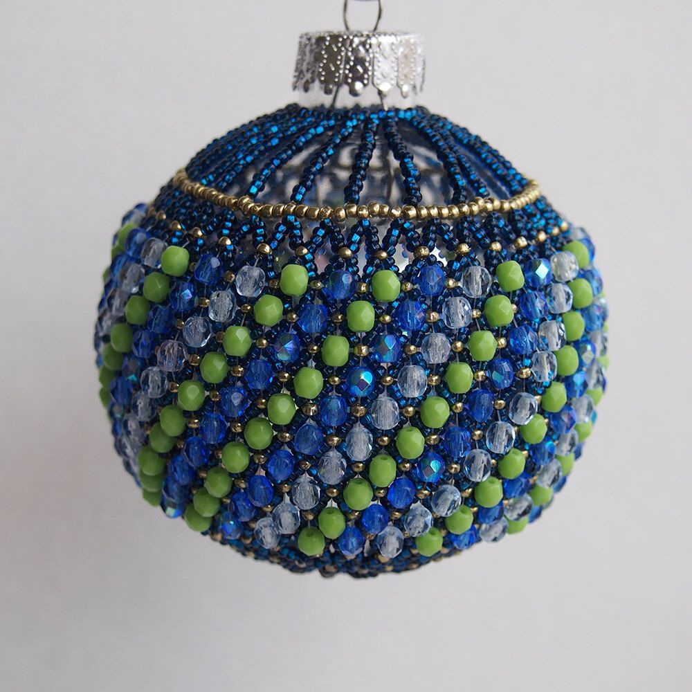 A personal favorite from my Etsy shop https://www.etsy.com/listing/251522573/blue-beaded-christmas-ball-ornament