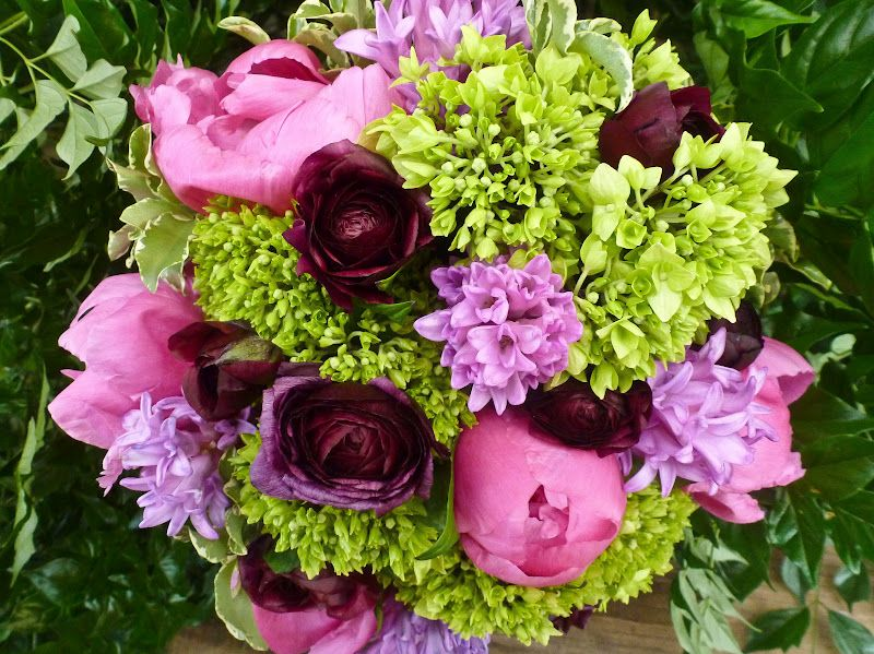 gorgeous bouquet with pink lavender lime green and deep burgundy ...