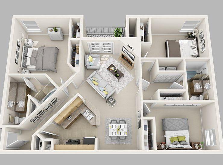 Marilyn Legout O Mellem O Photos Et Videos Instagram Three Bedroom House Plan Apartment Layout House Layout Plans