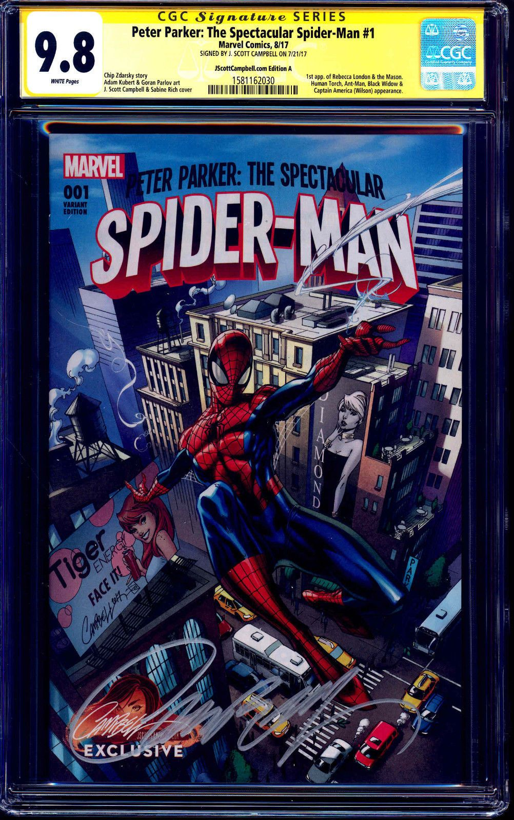 #certified #graded #cgc #cpgx #art #DC #Marvel #comic Peter Parker Spectacular Spider-Man #1 VARIANT CGC SS 9.8 signed JSCOTT CAMPBELL