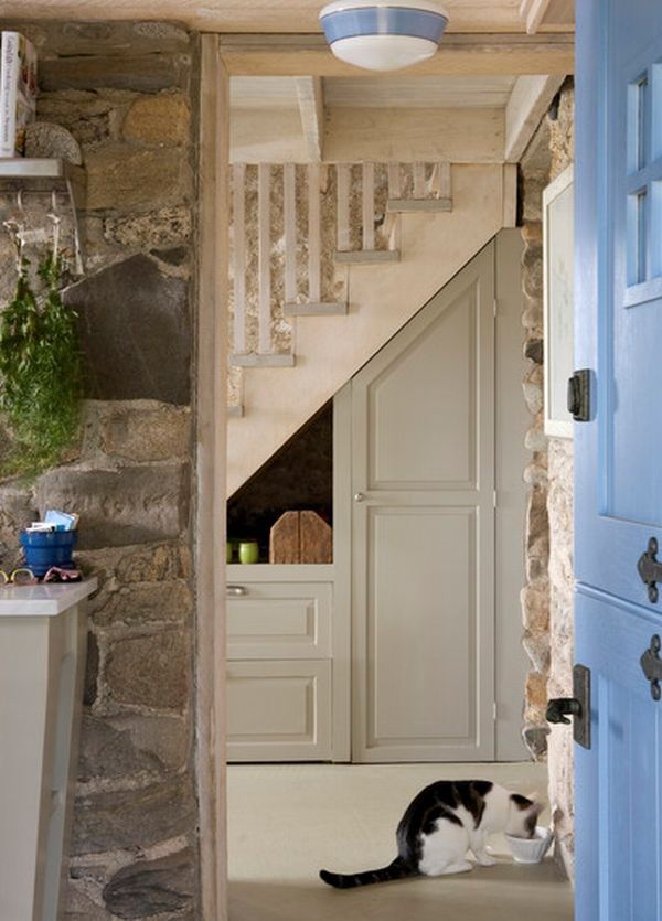 Maximize Storage Space simple storage space surroundedstone walls | stair storage