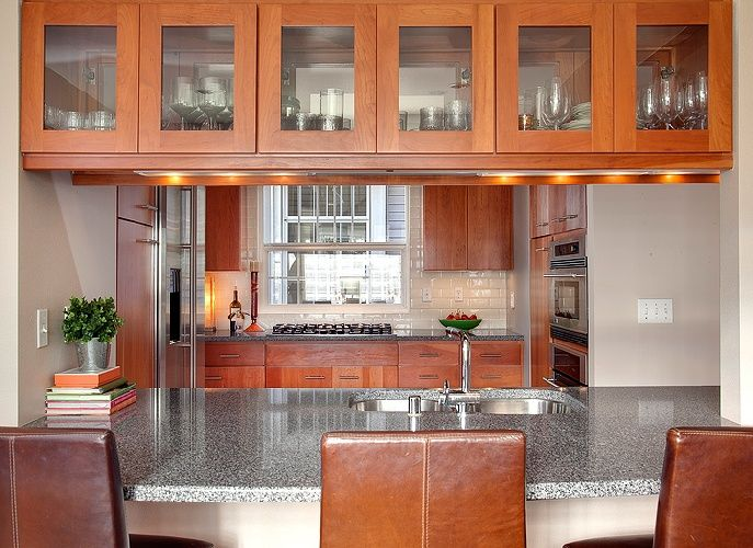 Beautiful Display Cabinets Above Breakfast Bar. Not The Right Colors, But Similar  Idea. Amazing Design