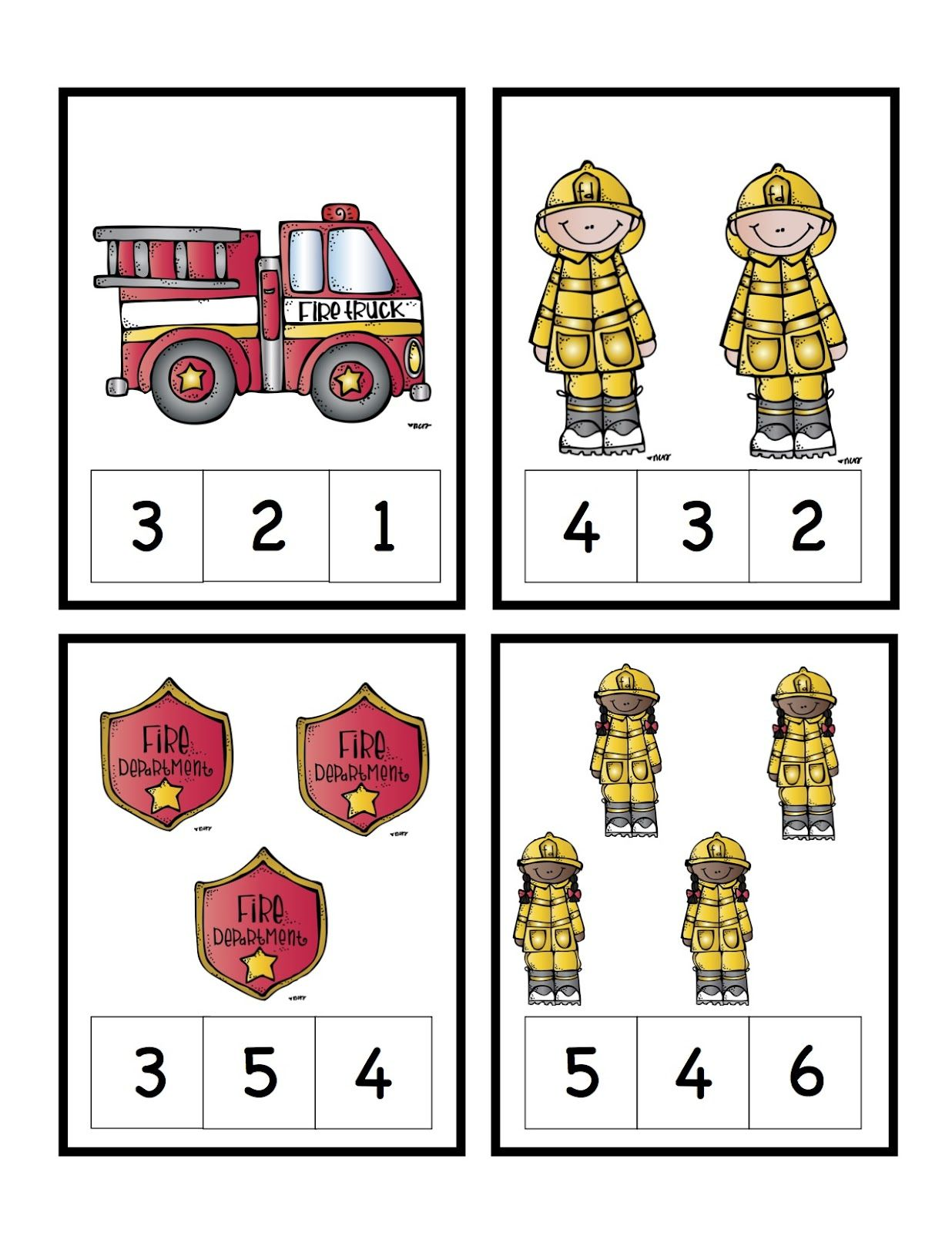 Preschool Printables: Fire Safety Number Cards | Fire ...