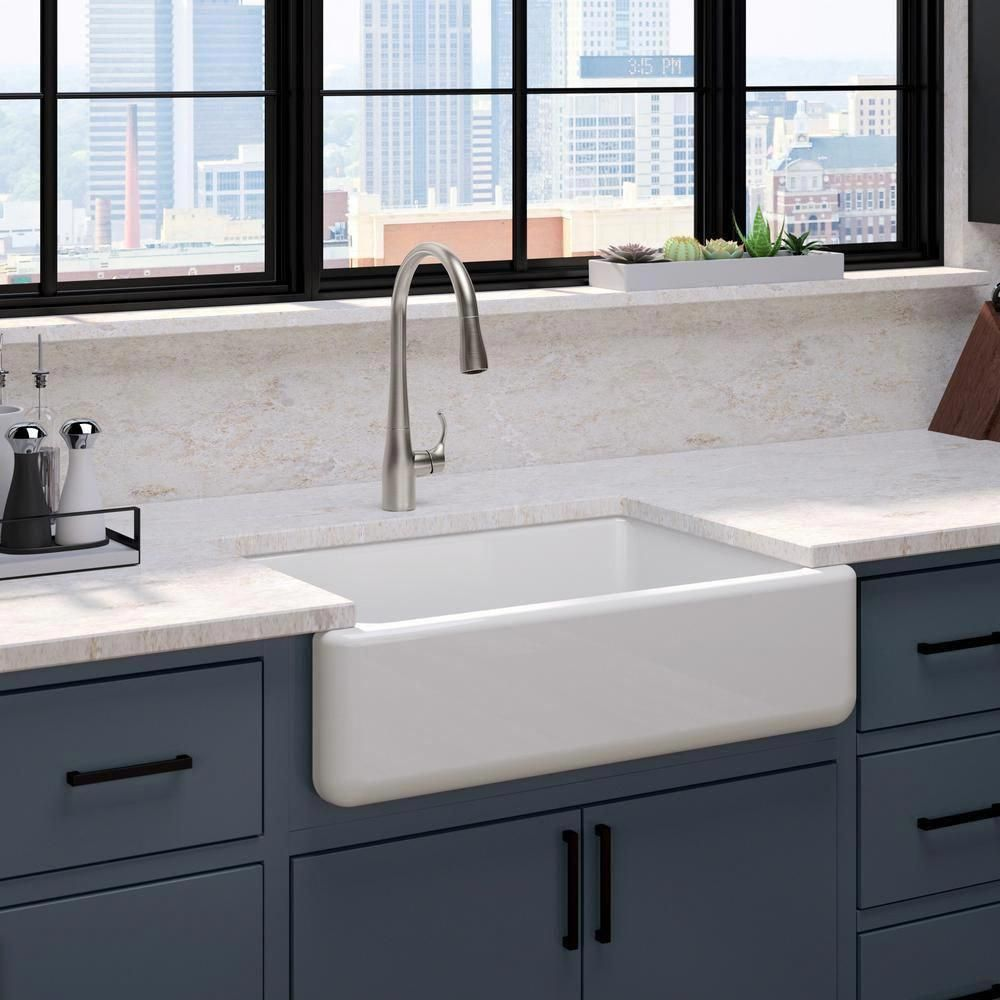 Kohler White Haven Undermount Cast Iron 32 6875 In Single Bowl Kitchen Sink In White Apron Front Kitchen Sink Single Bowl Kitchen Sink French Country Kitchens