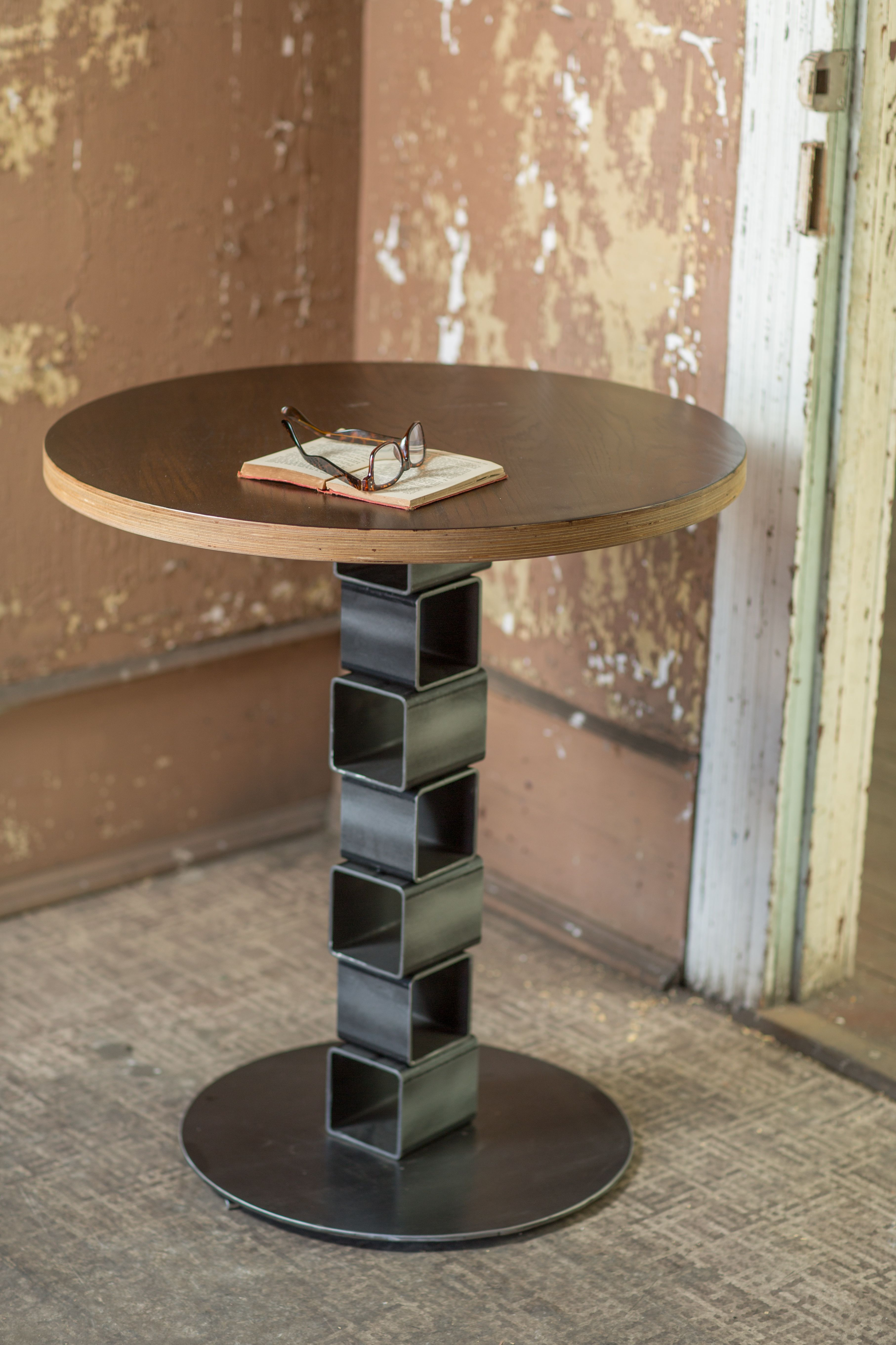 Round Wooden Table With Steel Base This Custom Handmade Table Is Great For The Dining Room Office Wo Metal Furniture Design Metal Furniture Steel Furniture