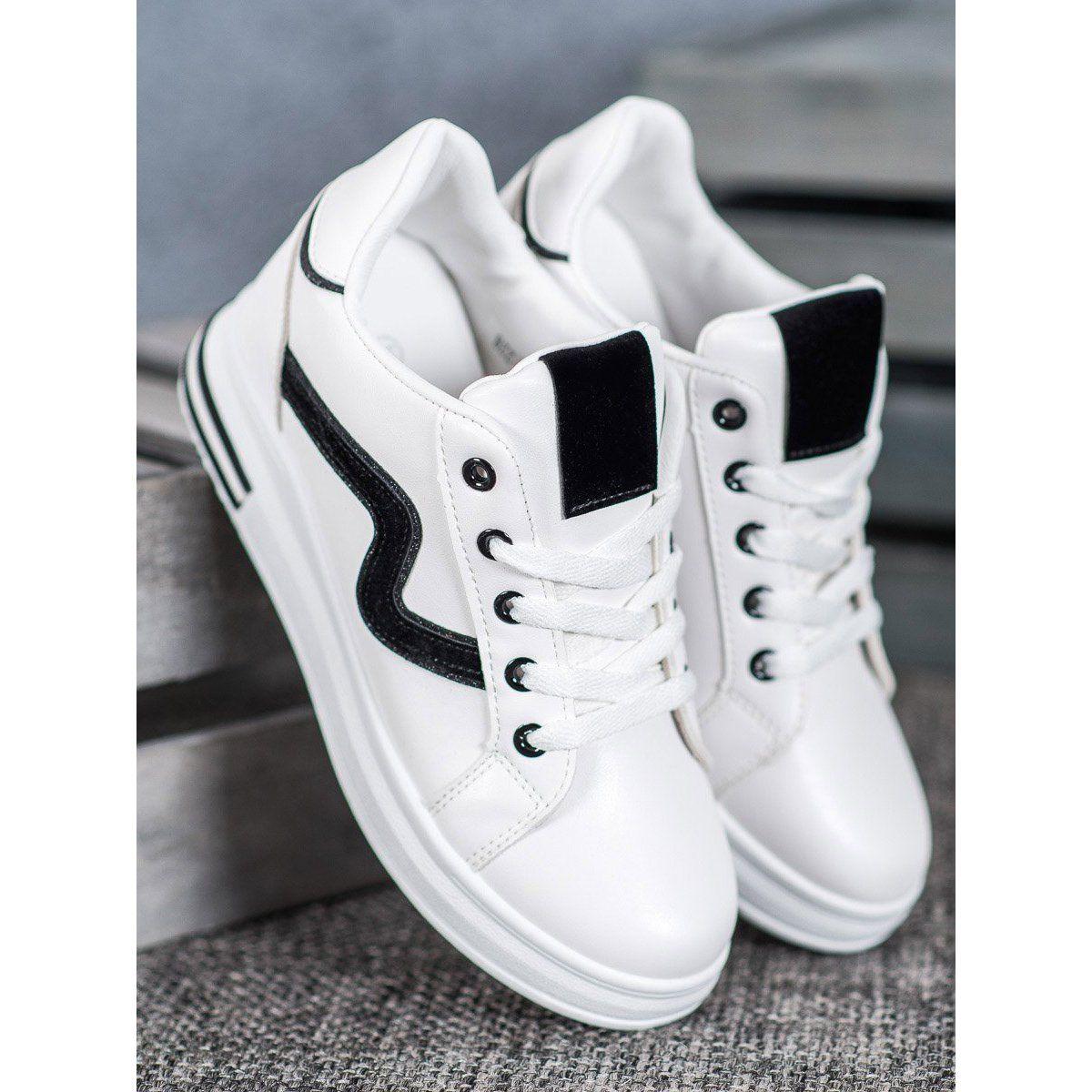 Shelovet Buty Sportowe Z Ukryta Koturna Biale Czarne Shoes White Sneaker Sneakers