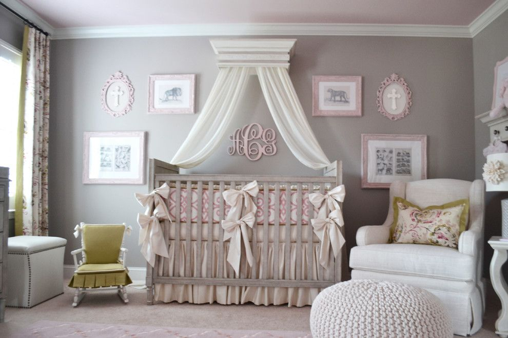 Sumptuous Crib Canopy Mode Atlanta Transitional Nursery Decoration Ideas With Baby Bedding Bows Erfly Pleat In Changing Tables