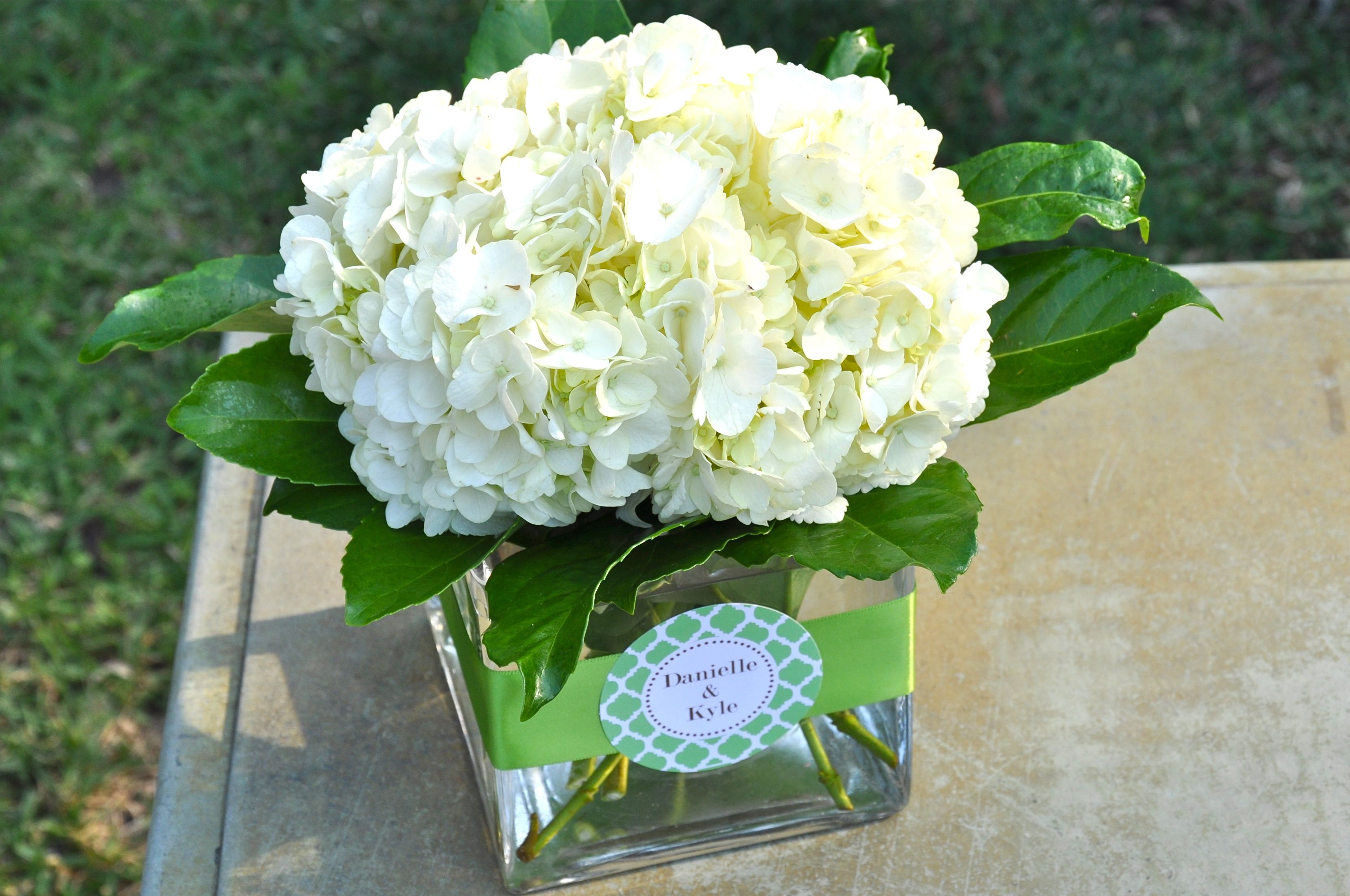 White hydrangea centerpiece debi lilly ribbon bridal