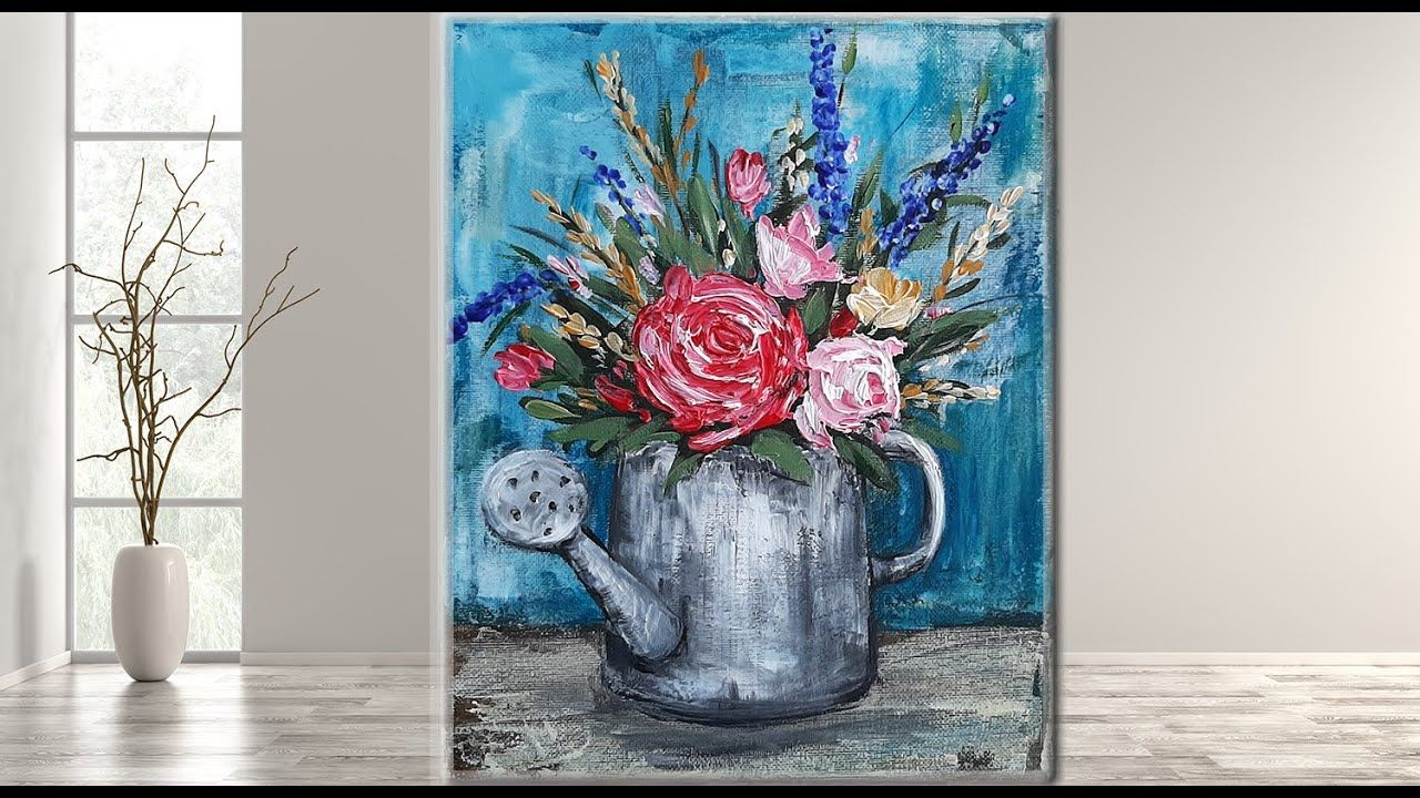 Easy acrylic painting for beginnerstutorial floral