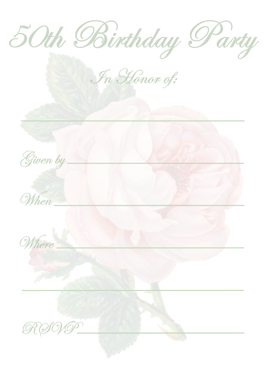 Free Printable 50th Birthday Party Invitation Templates ...