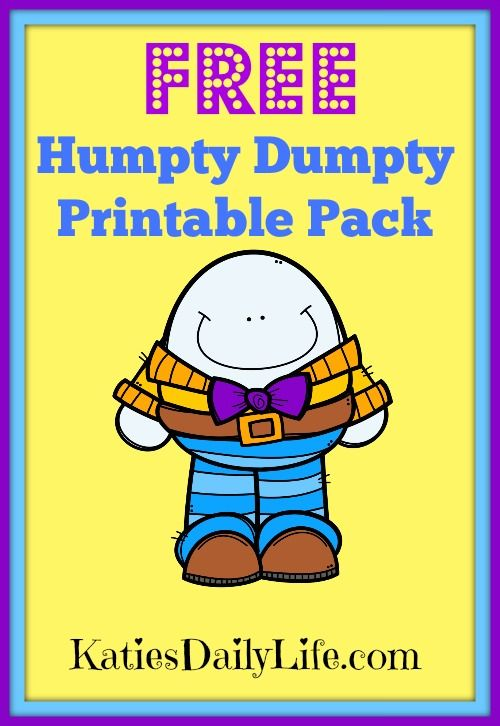 photo about Humpty Dumpty Printable identified as Get your Free of charge Humpty Dumpty Printable Pack! Working day 6 of 30