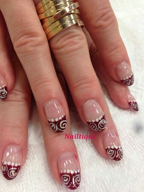 Red French Swirl Design Holyoke Mall Nailtique French Nails