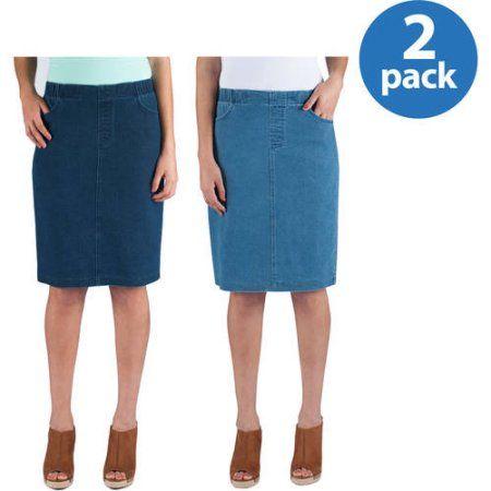 Real Size Women;s Stretch 2 Pocket Denim Jegging Skirt 2pk Value Bundle, Women's, Blue