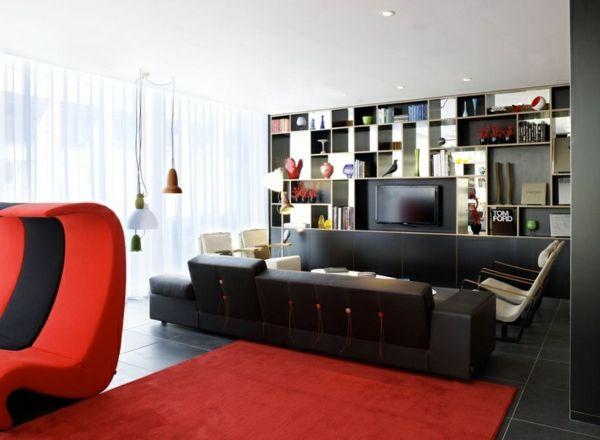 Luxus Wohnzimmer Schwarzes Sofa Roter Teppich Stuhl Wandschrank