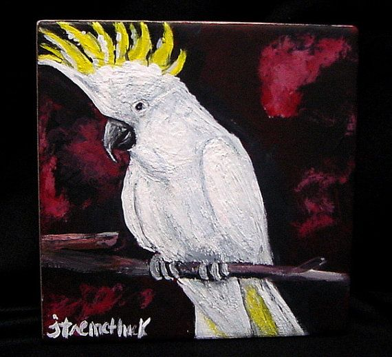 Cockatoo originalacrylic painting on 6 x 6 by ThisArtToBeYours, $40.00