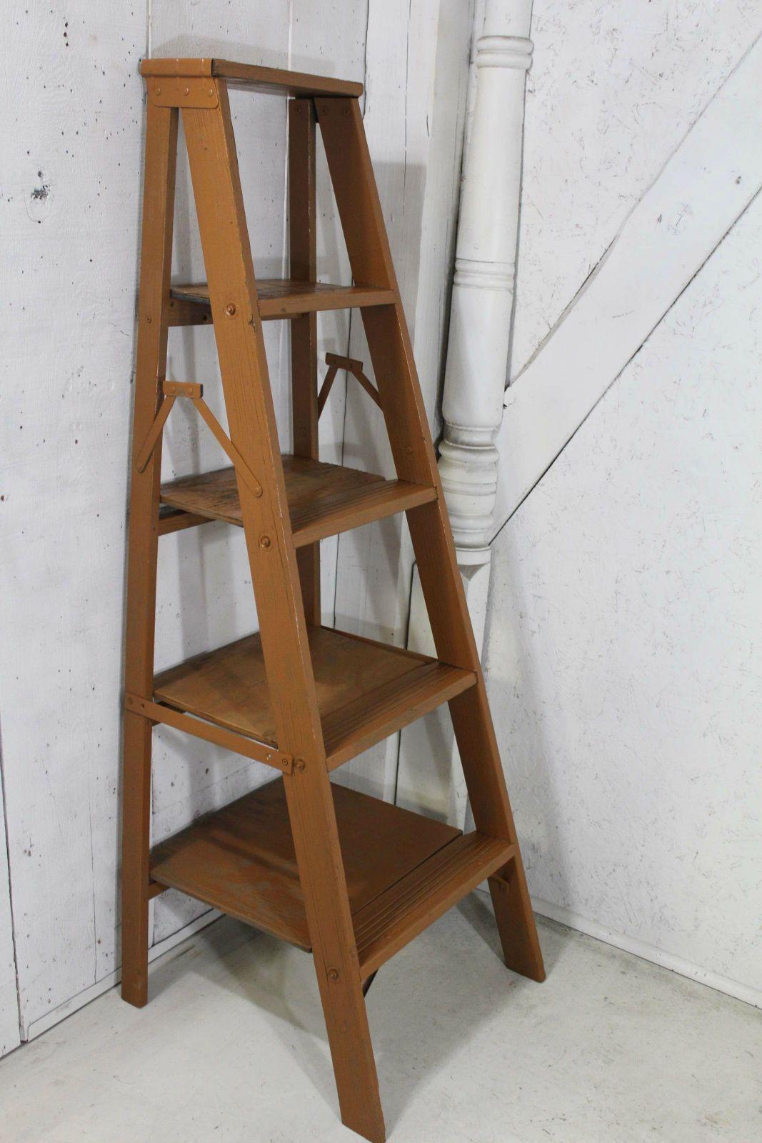 5 Step Wood Vintage Shelf Unit Made From Antique Ladder 56t Wood