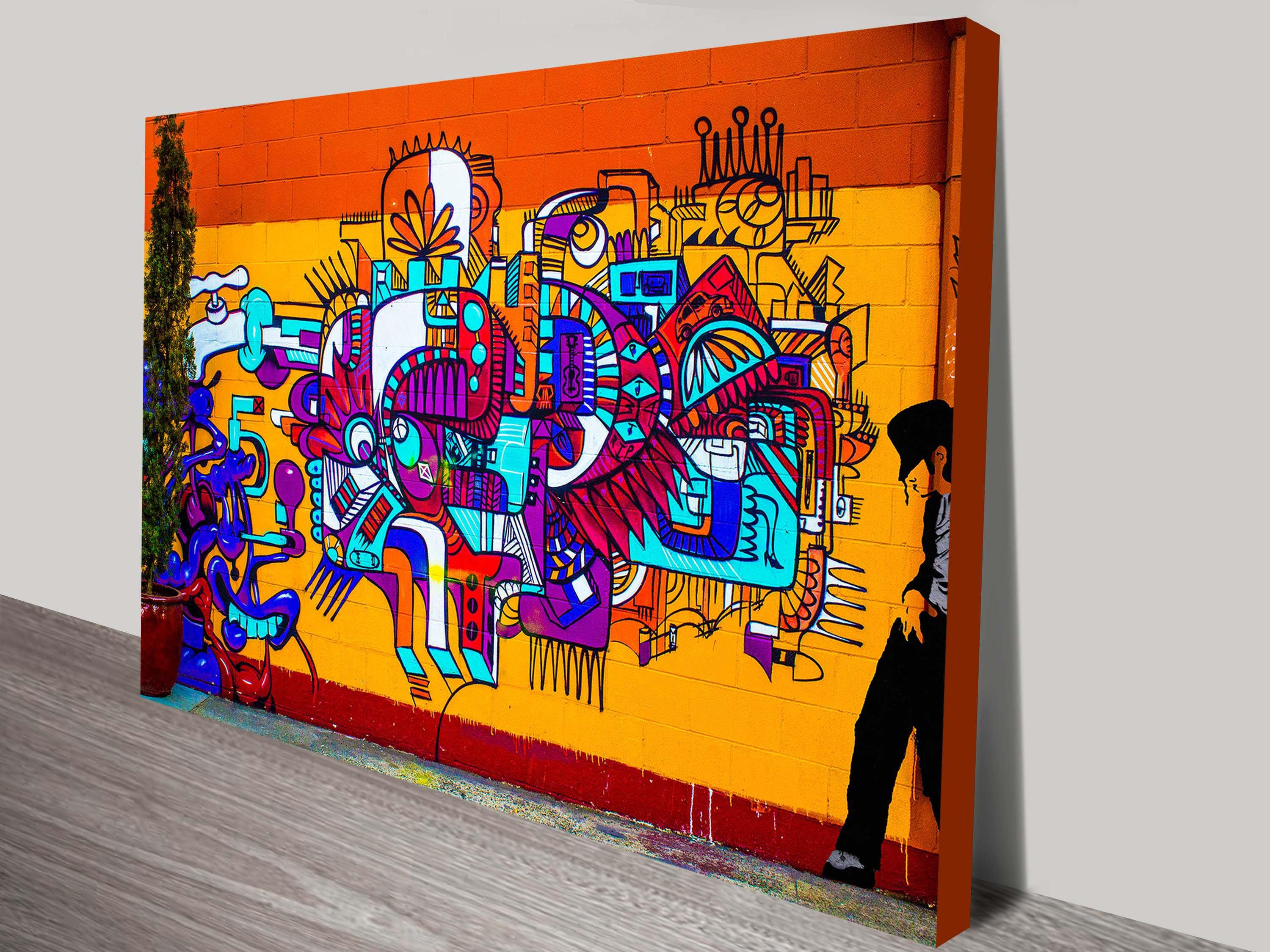 This is another of our graffiti canvas print wall art designs this vividly colourful street art piece is called smooth criminal its by an unknown street