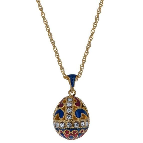 Sale Faberge Inspired Golden Star Egg Pendant Gold Plated with Crystals /& Chain