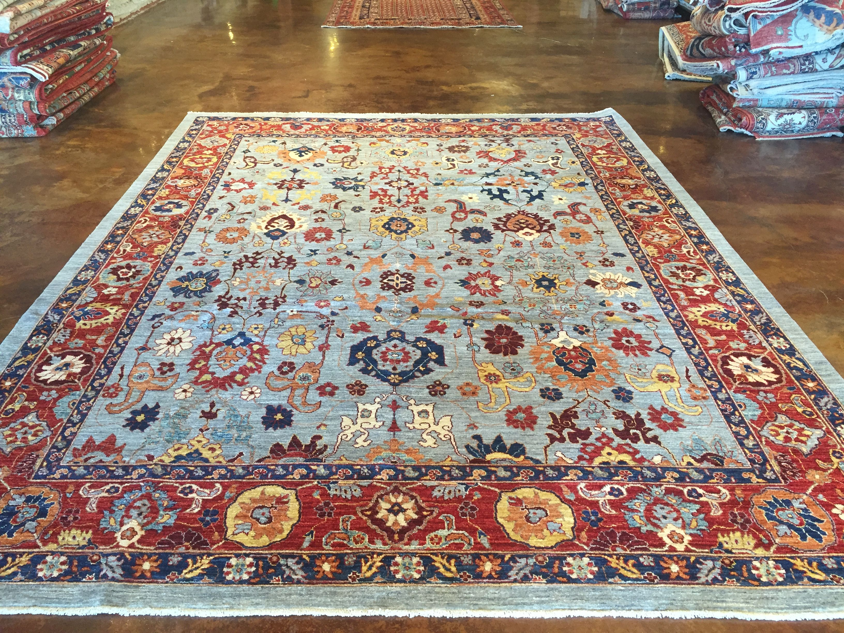 Blue Blossoms This Hand Knotted Pile Rug Is Made Using 100 Natural Dyes And Handspun Wool This Rug Is Wo Handmade Oriental Rugs Carpet World Carpet Handmade
