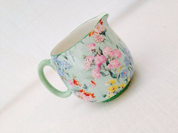 #Antique #ShelleyPottery ''Melody'' #ChintzPattern cream by GreenVi, £30.00 #floral #romantic